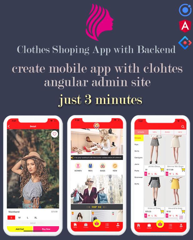 Ionic clothes shopping App App Preview Description